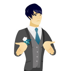 young asian confused groom shrugging shoulders vector image