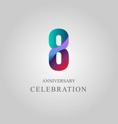 8 year anniversary celebration template design vector
