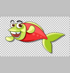 A fish cartoon character isolated on transparent vector