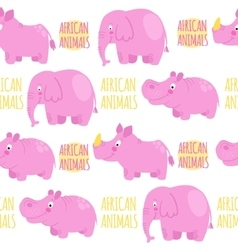 African animals pink seamless pattern vector image