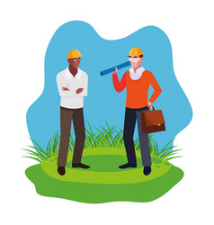 Afro male builder with architect on lawn vector