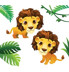 Animals Collections Lions with Tropical Frame vector