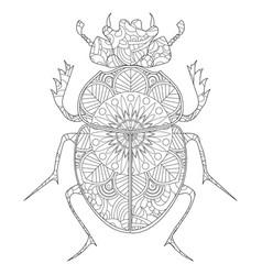 anti-stress coloring book egyptian scarab vector image