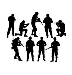 Army ready to war silhouettes vector