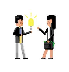 Asian businessman holding idea light bulb vector