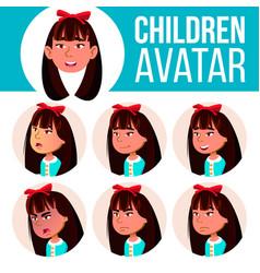 Asian girl avatar set kid kindergarten vector