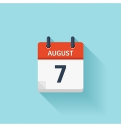 August 7 flat daily calendar icon Date vector image