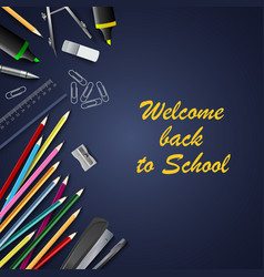 back to school with aids on blue background vector image