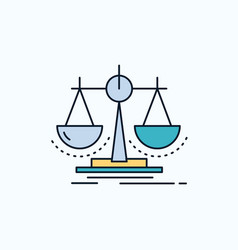 Balance decision justice law scale flat icon vector