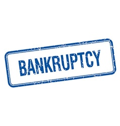 Bankruptcy blue square grungy vintage isolated vector