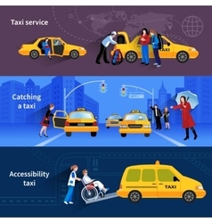 Banners Set Of Taxi Service vector