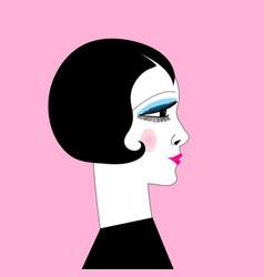 beautiful graphic retro style girl portrait on vector image