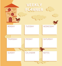 Bird house and sparrows weekly planer vector