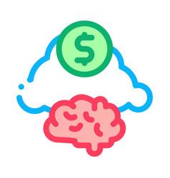 Brain cloud money icon outline vector