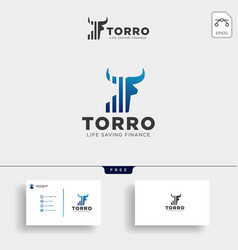 Bull chart bar statistic logo icon template vector