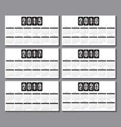 Calendar grid for 2015 2016 2017 2018 2019 2020 vector