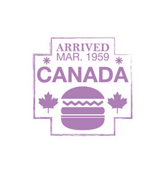 Canada arrival ink stamp on passport vector