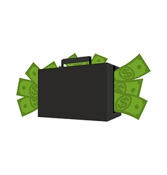 Case with money Suitcase full of dollars Cash in vector