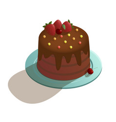 chocolate cake in isometric style vector image