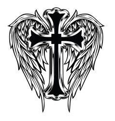 Christian cross wing drawing blak vector