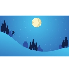 Christmas landscape with people playing ski vector image