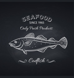 codfish hand drawn icon vector image