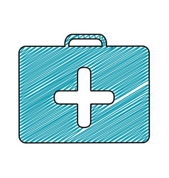 Color pencil drawing of symbol of first aid kit vector