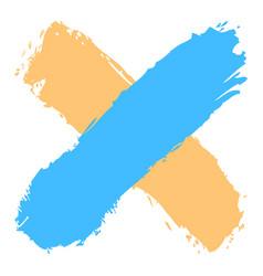 Colored criss cross brushstroke delete sign vector
