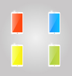 colored shiny glass mobile phone icons on gray vector image