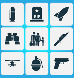 Combat icons set collection of missile glass vector