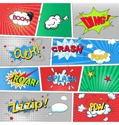 Comic colored speech bubbles in pop art style vs vector image