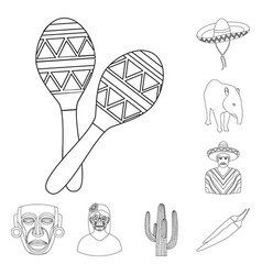 Country mexico outline icons in set collection for vector