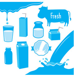 cow milk packaging blue icon cartoon design vector image