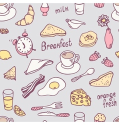 Cute hand drawn breakfast seamless pattern vector