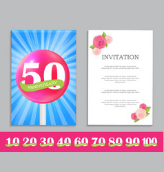Cute template set of anniversary celebration vector