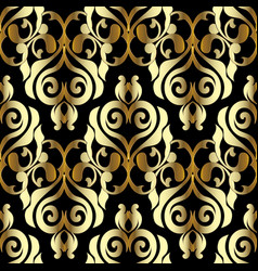 damask seamless pattern black gold floral vector image