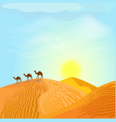 Desert with dunes and camels sunset in blue sky vector