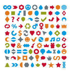 different colorful flat web icons set made on vector image