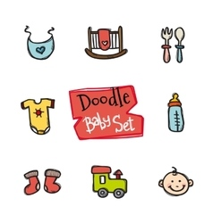 doodle baby icons set Cute hand drawn vector image