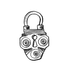 door lock or latch in sketch style outline or vector image