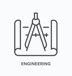 Engineering flat line icon outline vector