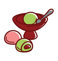 Exotic daifuku sweet mochi and green tea ice vector