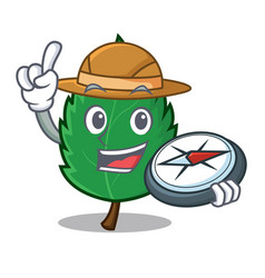 explorer mint leaves mascot cartoon vector image