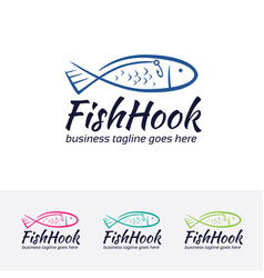 fish hook logo design vector image