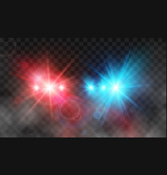 Flash red and blue light police car siren in fog vector