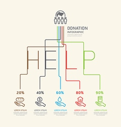 Flat linear Infographic Charity and Donation vector image