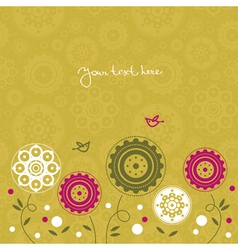 Floral background with cartoon birds vector image