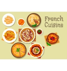 French cuisine dessert cake and pie icon vector