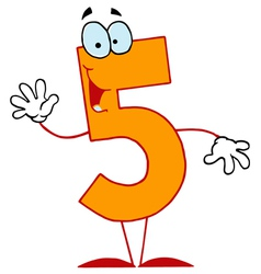 Funny cartoon numbers-5 vector