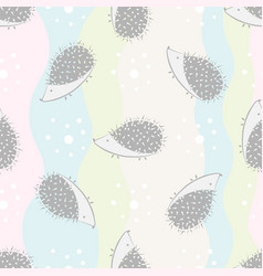 funny hedgehog seamless pattern on colorful vector image